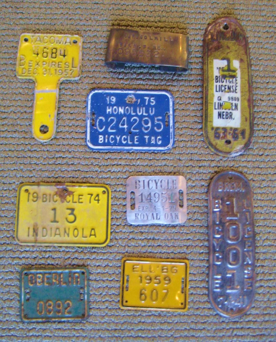 Vintage Bicycle License Plates Classic Cycle Bainbridge