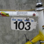 Gavin's race number at the Milk Race