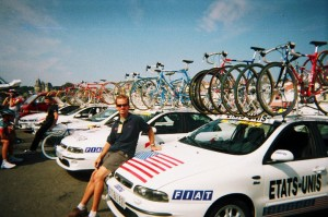 Paul with team car.  Notice the Banesto team car behind him.