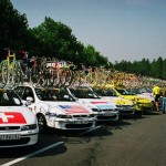 Race caravan at the 1999 Tour d Avenir.  This looks like the the stage in and aroun Plouay.