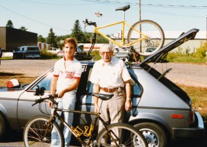With grandfather Johnson in 1988