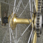 Gold anodized Campy BMX hubs